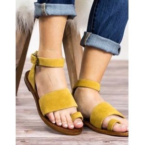 Free People Torrence Yellow Flat Sandals